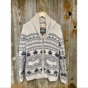 ROOTS chunky heavy wool knit maple leaf aztec pattern zip up sweater size small